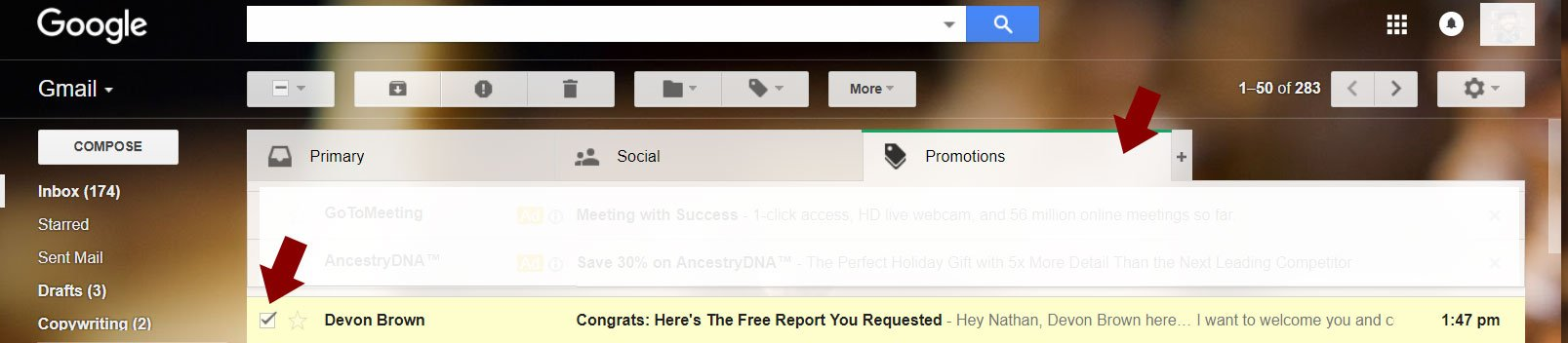 Screenshot of email in Google promotions folder